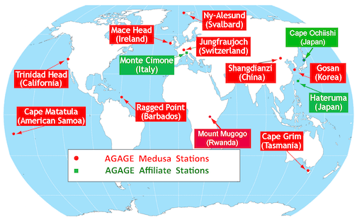 AGAGE Network map
